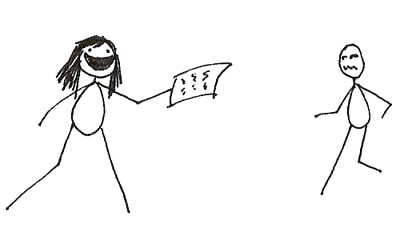 stick figure drawing of Traci Chee foisting her manuscript on unsuspecting victims