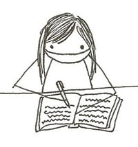 stick figure drawing of Traci Chee toiling away with a notebook and pen