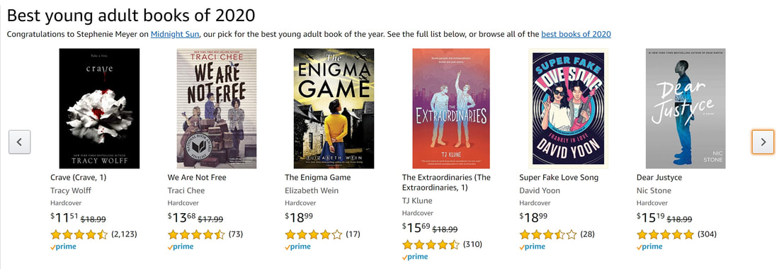 screen shot of the Amazon page for Best Young Adult Books of 2020, featuring the covers of Crave by Tracy Wolff, We Are Not Free by Traci Chee, The Enigma Game by Elizabeth Wein, The Extraordinaries by TJ Klune, Super Fake Love Song by David Yoon, and Dear Justyce by Nic Stone