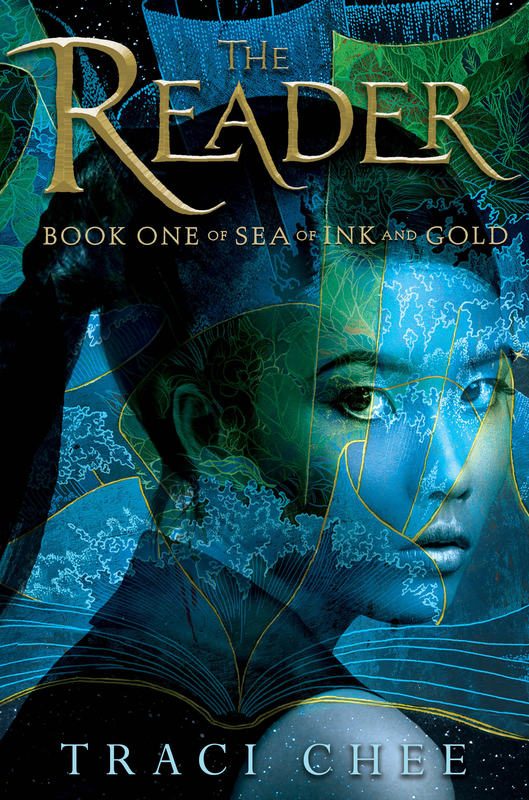 cover of THE READER by Traci Chee, featuring a girl looking over her shoulder over an illustrated background of stars, waves, and jungle fronds