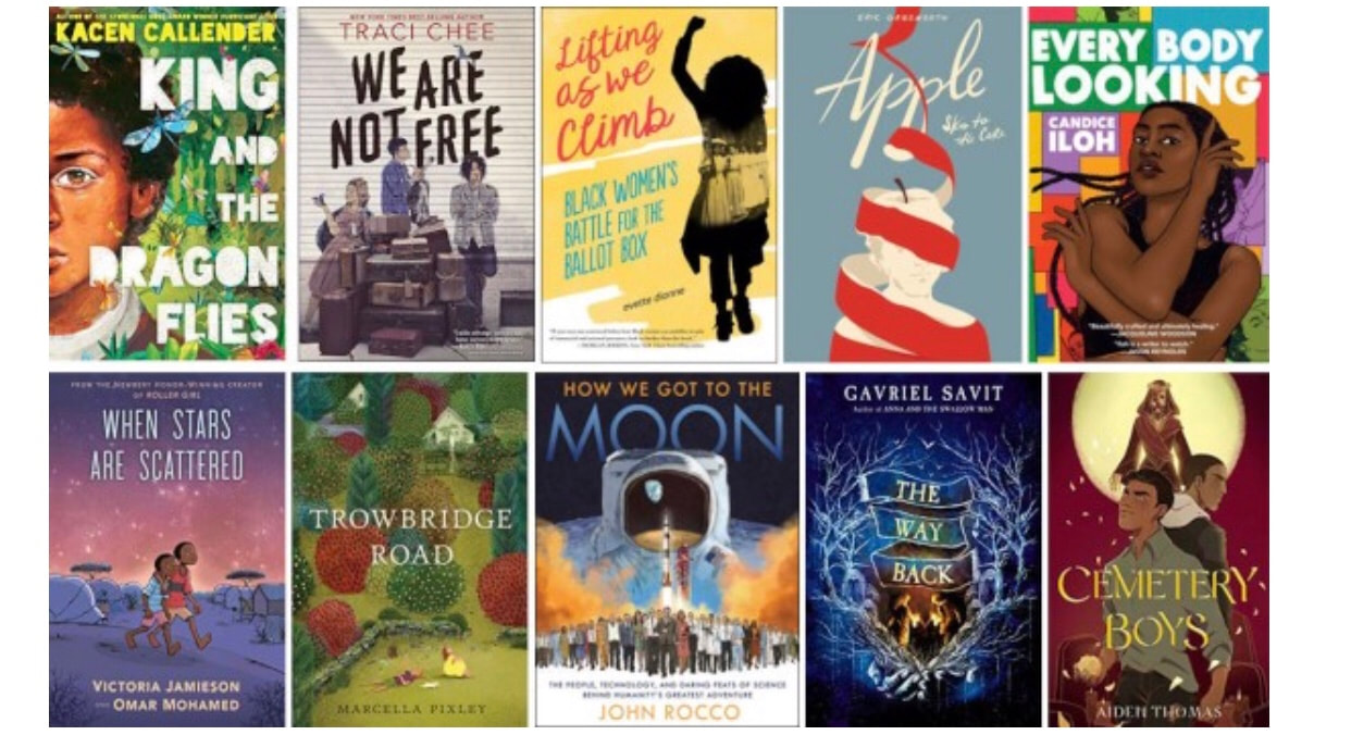 ten book covers from the national book awards longlist for young people's literature 2020