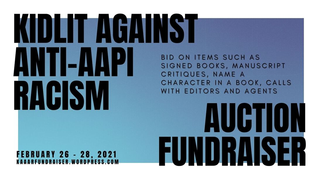 blue and white graphic for Kidlit Against Anti-AAPI Racism Auction Fundraiser, Feb. 26-28