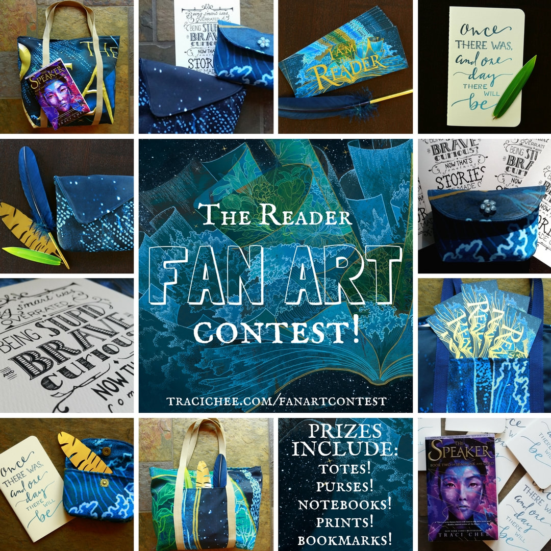 collage of photos of prizes for THE READER Fan Art Contest, including totes, pens, bookmarks, art prints, notebooks, ARCs, and purses