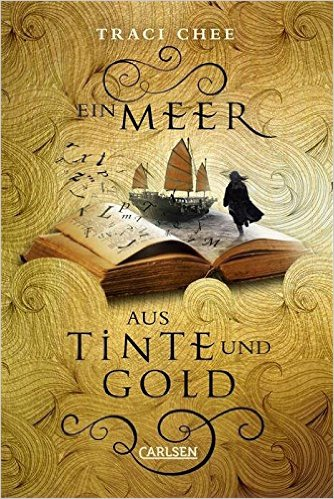 German cover for The Reader, Ein Meer Aus Tinte Und Gold: a girl standing on a book, looking out toward a ship, surrounded by swirling golden waves