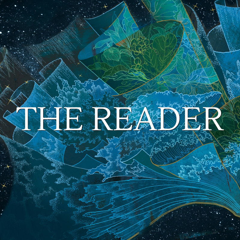The Reader (The Reader Trilogy) playlist album cover with blue and green illustrations from the cover of THE READER by Traci Chee