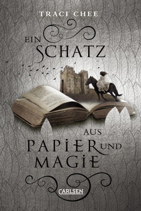 cover of the German edition of THE SPEAKER by Traci Chee, Ein Schatz aus Papier und Magie