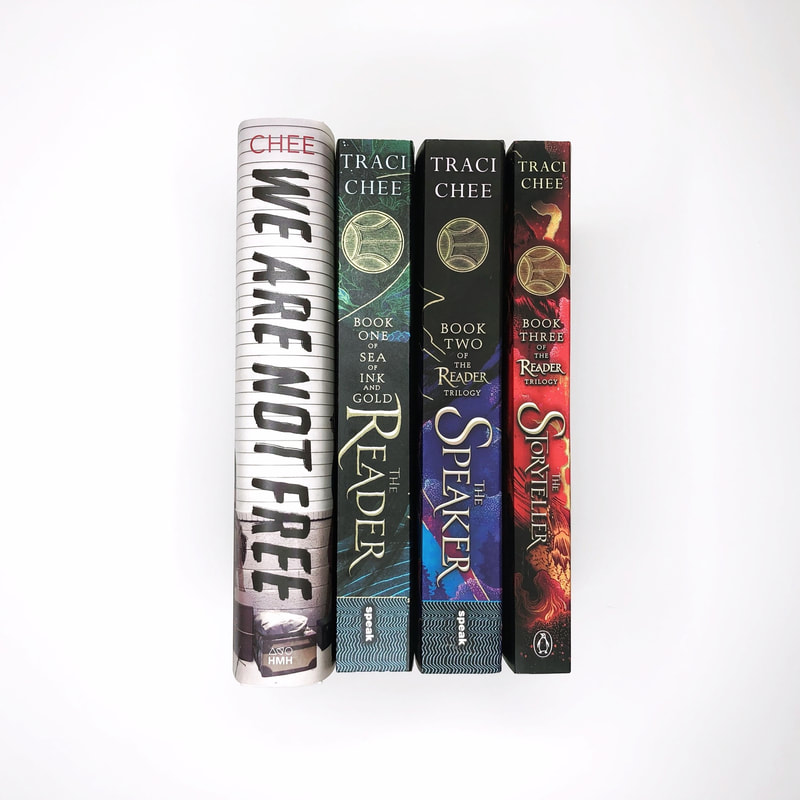 Four books by Traci Chee lined up in a row: We Are Not Free, The Reader, The Speaker, The Storyteller