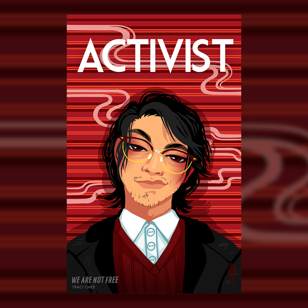 (image: illustration of a young Japanese-American man from the 1940s in a red sweater and white shirt with broken glasses)