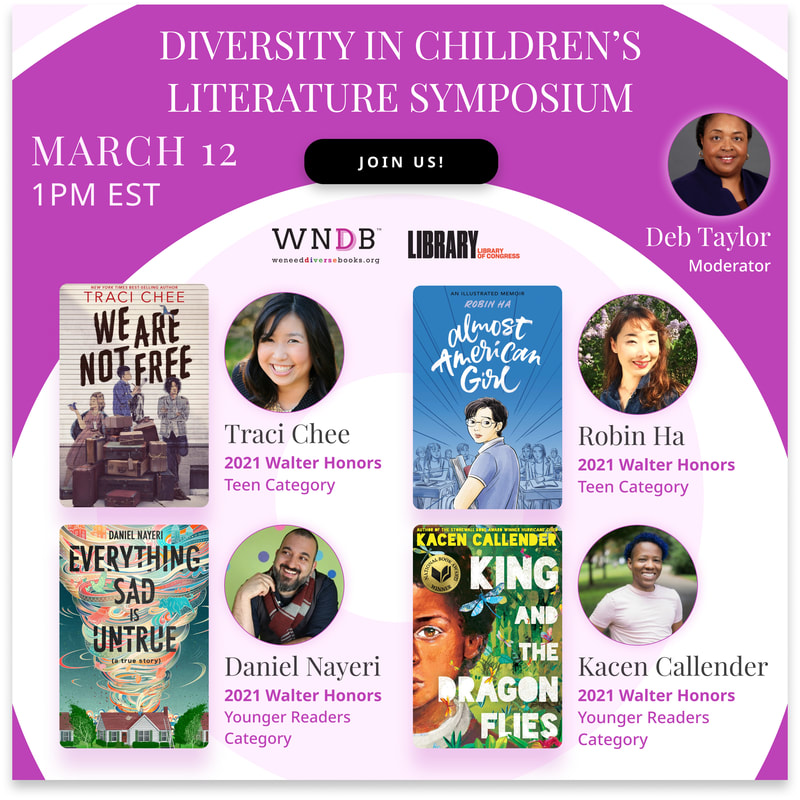 pink graphic for the 2021 Diversity in Children's Literature Symposium, March 12, 1pm ET